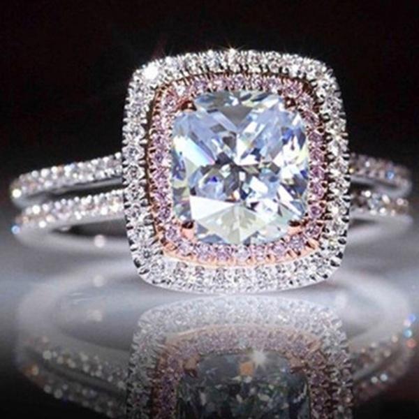pink, DIAMOND, wedding ring, Silver Ring