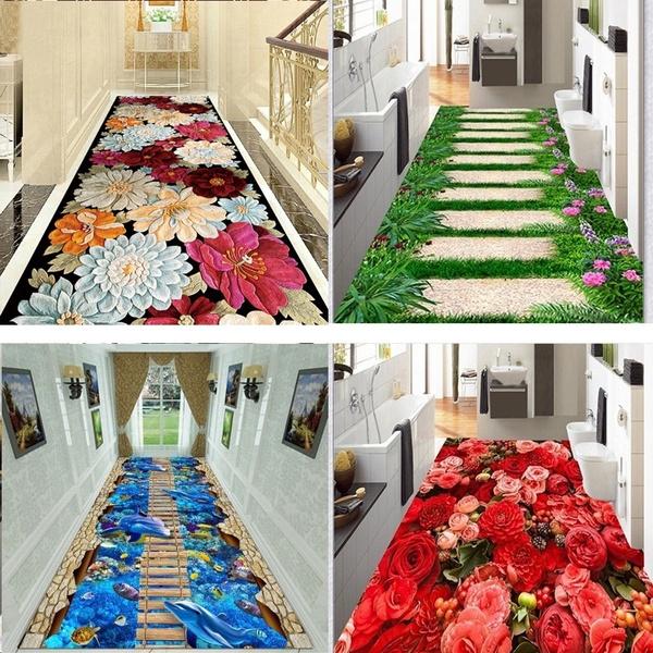 toilet, Flowers, doormat, kitchenrunnerrug