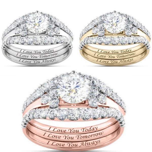 Sterling, Silver Jewelry, Engagement Wedding Ring Set, 925 sterling silver