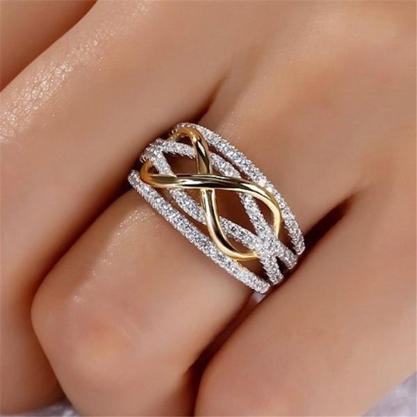 Heart, crystal ring, Infinity, Women Ring