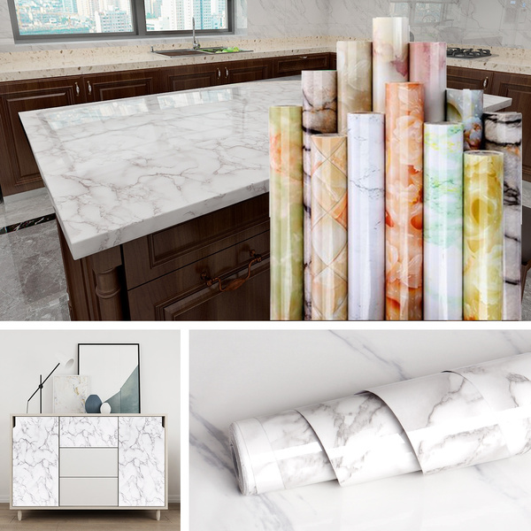Waterproof Oil-proof Marble Wallpaper Contact Paper Self Adhesive Wall Sticker