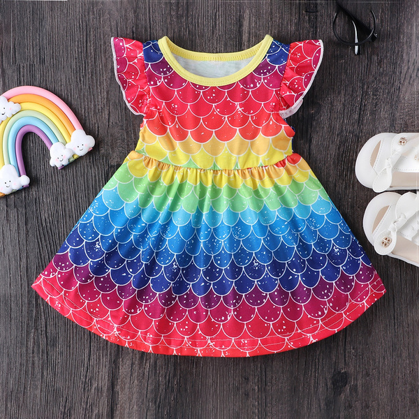 kids, rainbow, ruffle, Sleeve