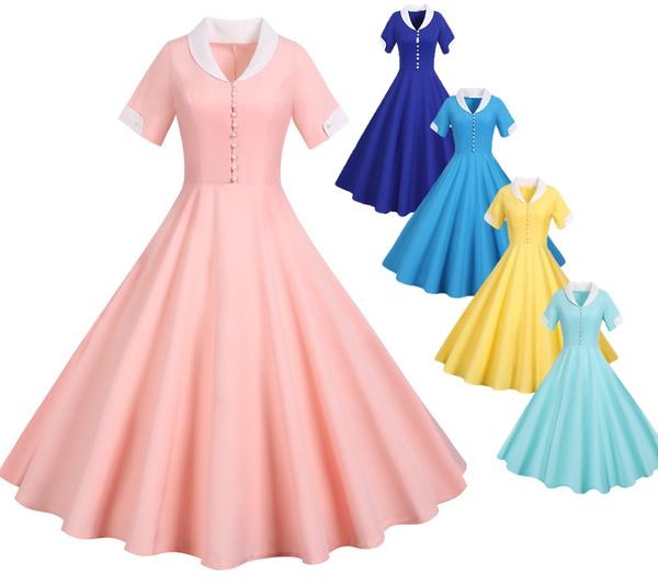 Swing dress, short sleeve dress, Sleeve, soliddres