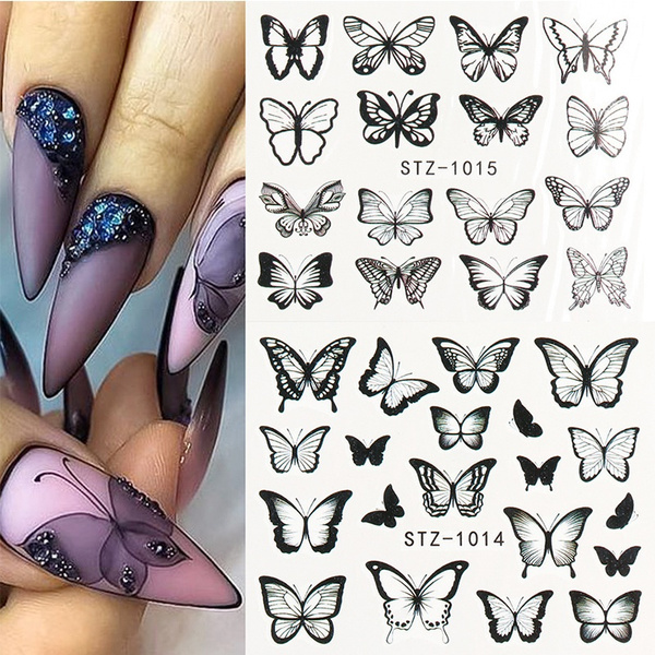 butterfly, Blues, nail decals, art