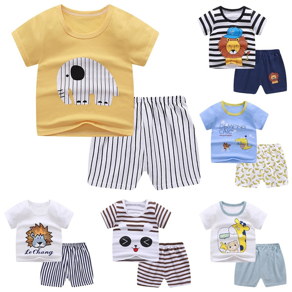 Toddler Child Baby Boys Girls Short Sleeve Cartoon Top+Pants Shorts Outfits Set