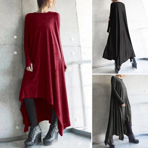 Vintage, Autumn Dress, solidcolordres, long dress