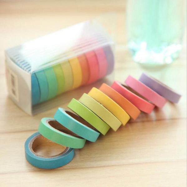 Kawaii, cute, rainbowcolor, stationerytape