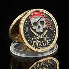 coincommemorative, Collectibles, piratecoin, goldplatedcoin