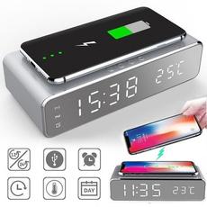 led, wirelessphonecharger, deskalarmclock, Clock