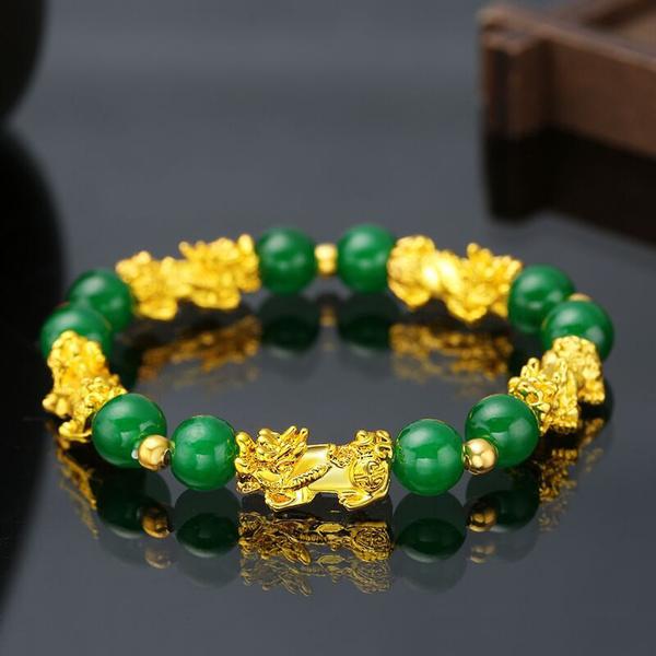 Pixiu Bracelets For Men Feng Shui Dragon Good Lucky Wealth Green Jade