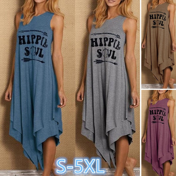 Women, printeddre, hippie, long dress