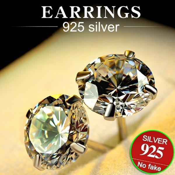 White Sapphire Moissanite Earrings S925 Silver 5mm 6mm 7mm 8mm Round Big Diamond Stud Earrings 18k White Gold Rhinestone Bride Wedding Engagement Jewelry Gifts White Topaz Earrings Wish