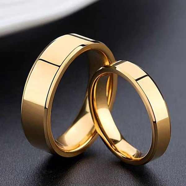 2020 New Luxury 18k Gold Wedding Rings Simple Design Couple Alliance Ring Lover Rings Couple Rings 1pcs Wish