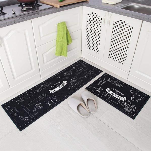 Hot Seller 2 Piece Non Slip Kitchen Mat Rubber Backing Doormat Runner Rug Set Cozinha Design Navy Blue 15 X47 15 X23 Wish