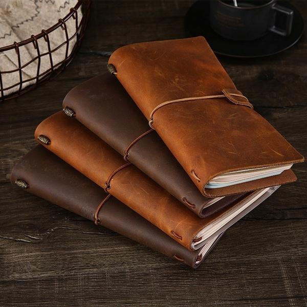 schoolnotebook, retronotebook, leather, Handmade