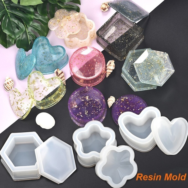 Heart shaped Silicone Casting Mould Storage Box Molds Epoxy Resin Crystal Glue