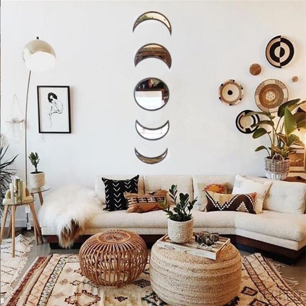 moonphasemirror, bohemiandecor, walldecoration, Decor