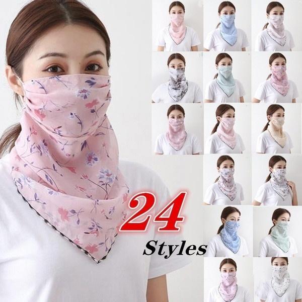mouthfloralscarf, womenmask, chiffon, Cover