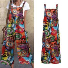 Women Pants, casualjumpsuit, Plus Size, Floral print