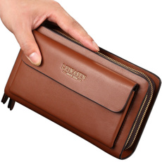 doublezipperwallet, clutch purse, Leather Handbags, Bags