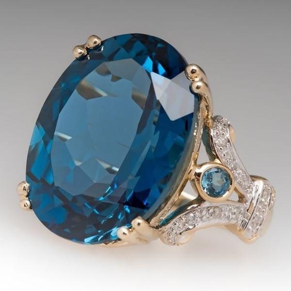 Blues, yellow gold, Fashion, Women Ring