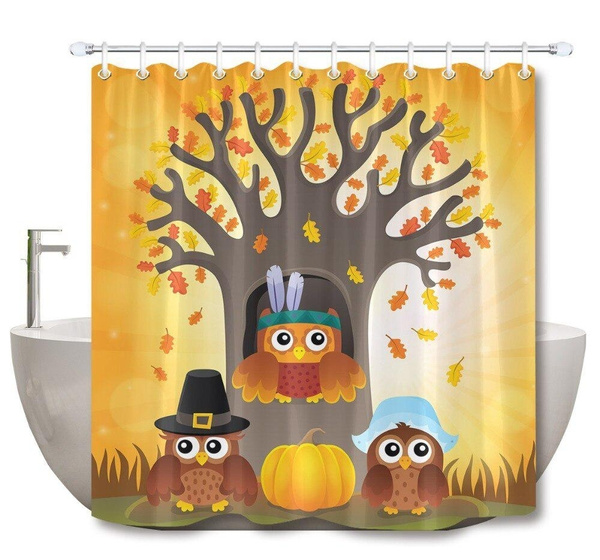 Owl, Bathroom, pumpkindecoration, bathroomcurtain