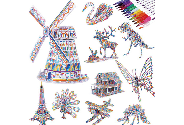 3D Coloring Puzzle Set 4 Animals Puzzles with 12 Pen Markers,DIY Educational Art Coloring Painting 3D Puzzle for Kids Over 5 Years,Fun Creative DIY Toys Gift for Girls Boys