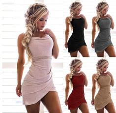 slim dress, Fashion, solidcolordre, fashionableplussize