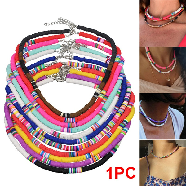 polymer, Jewelry, Colorful, bohemiannecklace