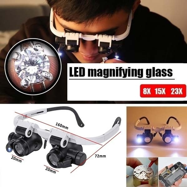 ledmagnifier, Loupes, brillen, lights