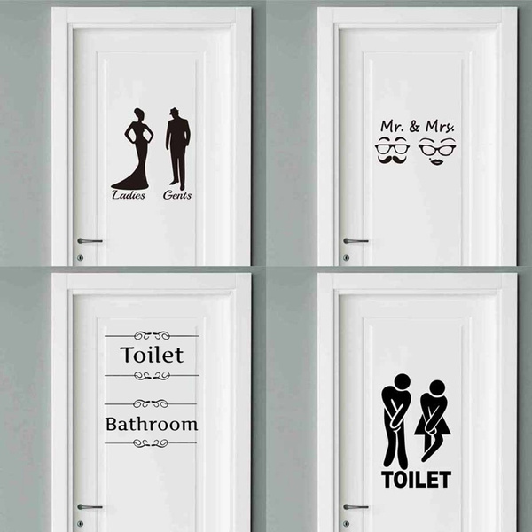 Creative Door Sticker Bathroom Toilet Sticker Door Decals Diy Waterproof Wall Art Removable Wall Sticker Home Decor Wish