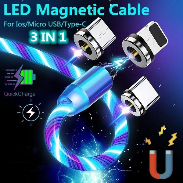 Top Magnetic USB Cable Flow Luminous Lighting Type C Micro USB For iPhone  Samsung Huawei Android Mobile Phone Charging LED Data Line | Wish