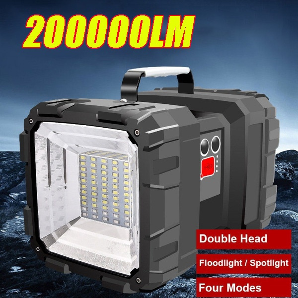 Portable Spotlight Double Headed Flashlight Torch LED Searchlight Rechargeable