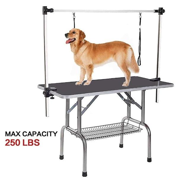 36 Steel Legs Foldable Nylon Adjustable Clamp Adjustable Arm Rubber Mat Pet Grooming Table Wish