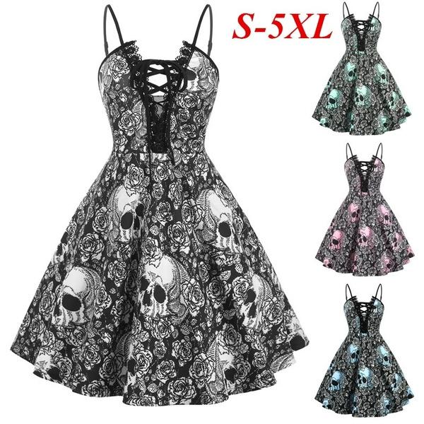 dressesforwomen, Lace, skullprint, Halloween Costume