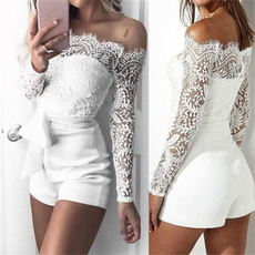 Women Rompers, Fashion, Lace, Long Sleeve