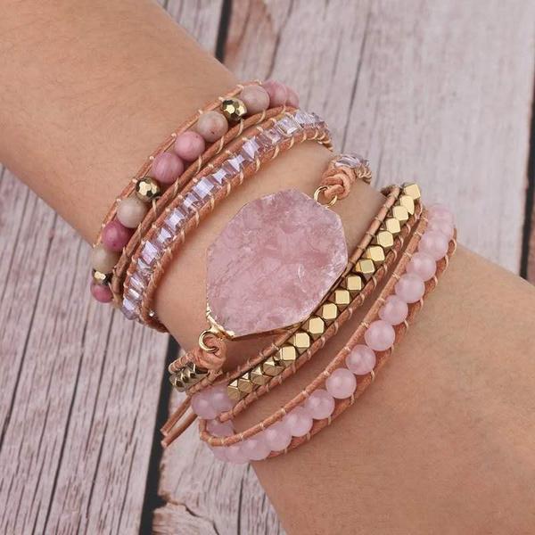 Boho Multilayer Natural Stone Crystal Bangle Beaded Bracelet Quartzs Jewelry