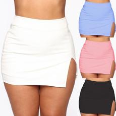 splitskirt, candy color, Skirts, miniskirtwomen