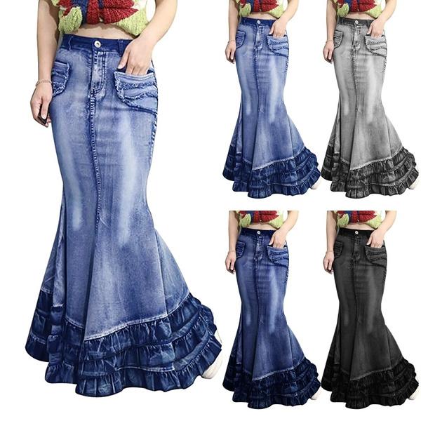 fishtailskirt, Jeans, long skirt, Plus Size