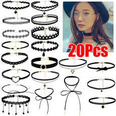 Goth, cottonnecklace, Lace, women necklace