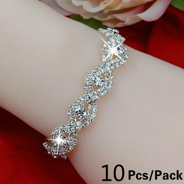 Charm Bracelet, Crystal Bracelet, DIAMOND, 925 sterling silver