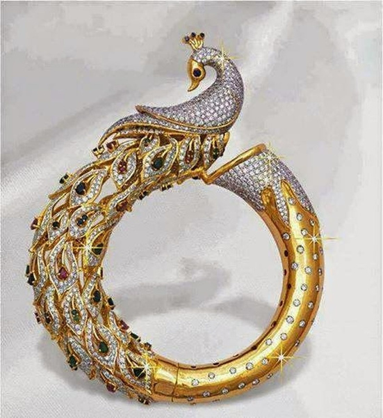 Beautiful, peacock, exquisite jewelry, gold