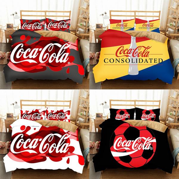 New Coca Cola Bedding Set 2 3pcs Duvet, Coca Cola Bedding