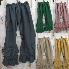 wide, trousers, ruffled, pants