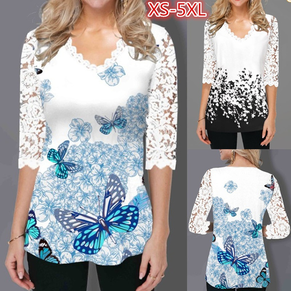 blouse, butterfly, Plus Size, tunic