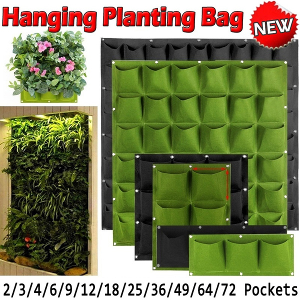 2~72Pocket Wall Hanging Planting Bag Vertical Flower Grow Pouch Planter Garden