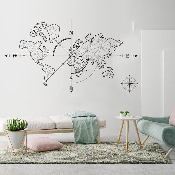 officesticker, Wall Decor, forbedroom, worldmap
