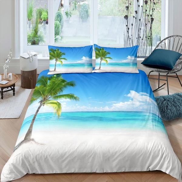 Hawaiian Beach Bedding Set For Girls, Queen Size Holiday Bedding