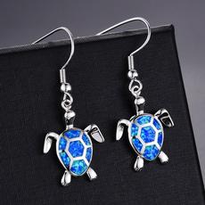 Turtle, Sterling, blueopalearring, Stud Earring