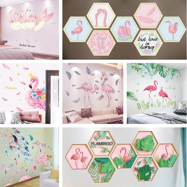 Decor, flamingo, Fashion wall sticker, house